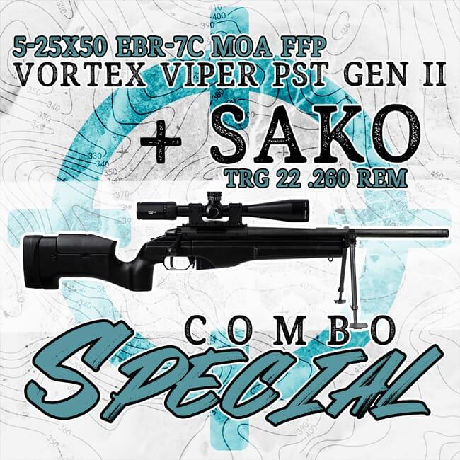Sako TRG 22 .260 Rem & Vortex Viper PST Gen II 5-25x50 EBR-7C MOA FFP Riflescope JRSM321-Sako-PST-5256-Vortex-PSTII-Kit