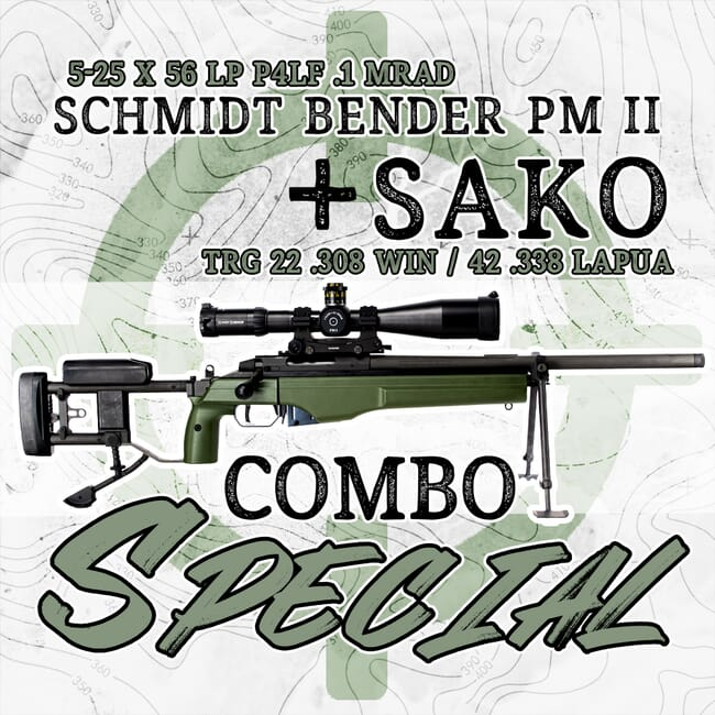 Sako TRG22 .308 Winchester/TRG42 .338 Lapua Rifle with Folding Stock and Schmidt Bender PMII 5-25x56 LP Scope Package TRG-308-338-677-911-972-90-68-kit