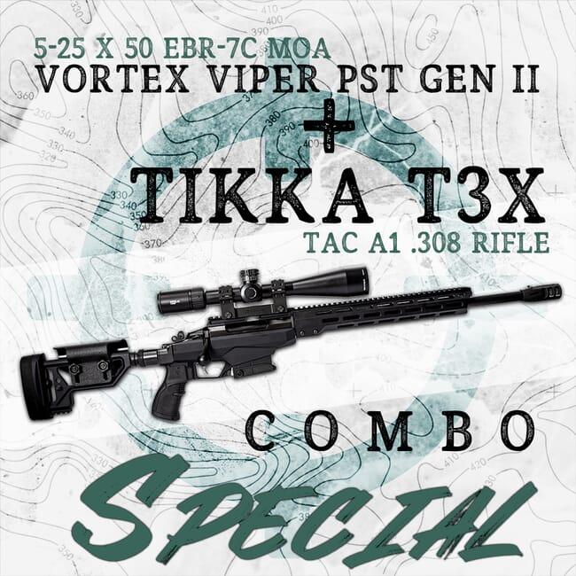 Tikka T3x TAC A1 .308 Win Rifle & Vortex Viper PST 5-25x50 EBR-7C MOA Riflescope Kit Special! JRTAC316-PST-5256-Kit