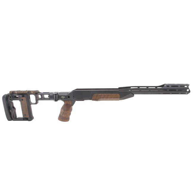 AKILA Chassis System Suitable for Blaser R8 Bolt Action Rifle w/Walnut Fittings, Folding Right RH/LH Black w/AKILA Adj. Buttstock 101ACSR8WWFR