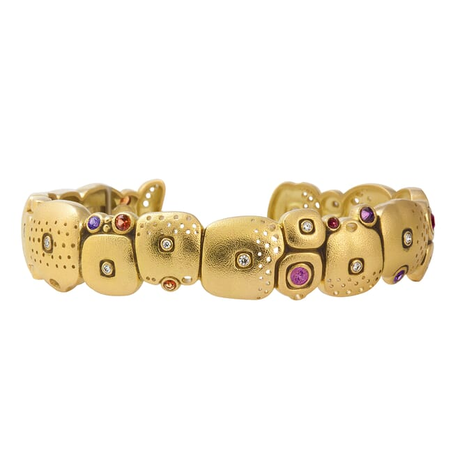 "Alex Sepkus 18K, Sapphire and Diamond Narrow ""Little Orchard"" Cuff Bracelet - 14 sapp (purple/orange/violet) - 1.19ct, 17 diamonds 0.21ct.  MPN B-38 B-38"