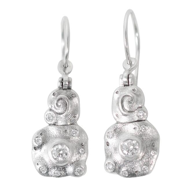 "Alex Sepkus Platinum and Diamond ""Evening Flowers"" Earrings"