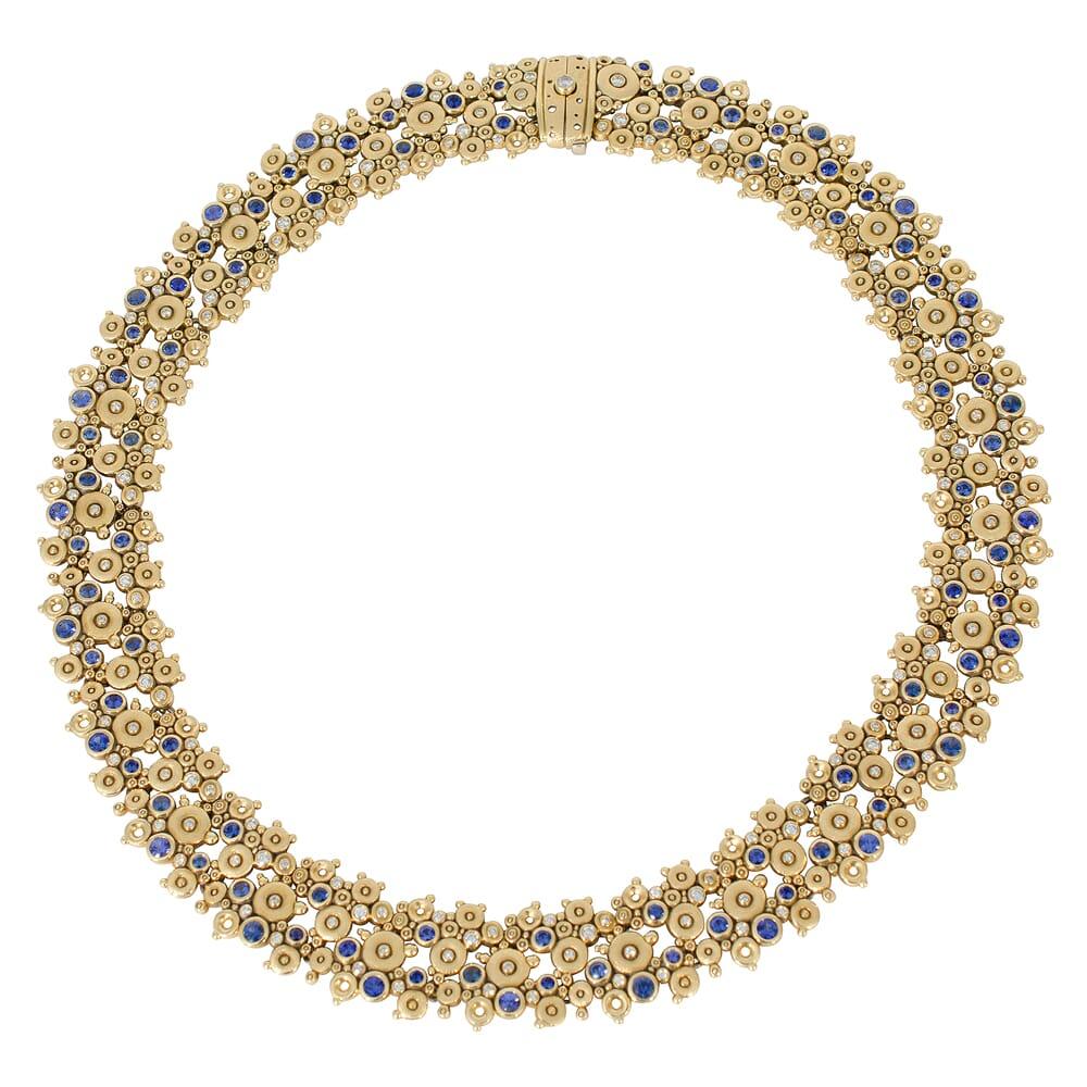 Alex Sepkus 18K Sapphire and Diamond Lace Necklace