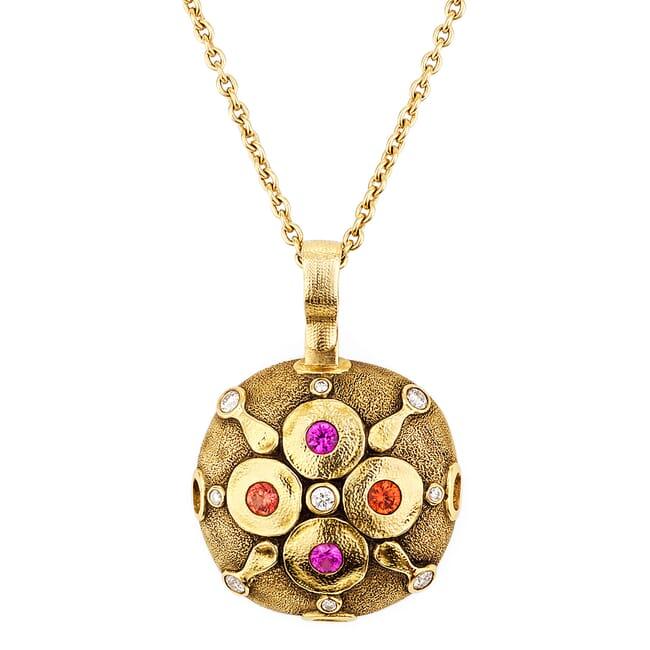 "Alex Sepkus 18K Sapphire and Diamond ""Spring Blossom"" Pendant"