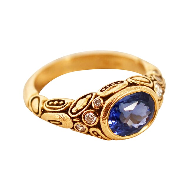 Alex Sepkus 18K and Diamond & Blue Sapphire Ring