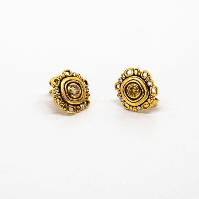 Alex Sepkus 18k  and Diamond Earrings.  2 Natural Color Diamonds 0.35ct and 8 White Diamonds 0.08ct E-85
