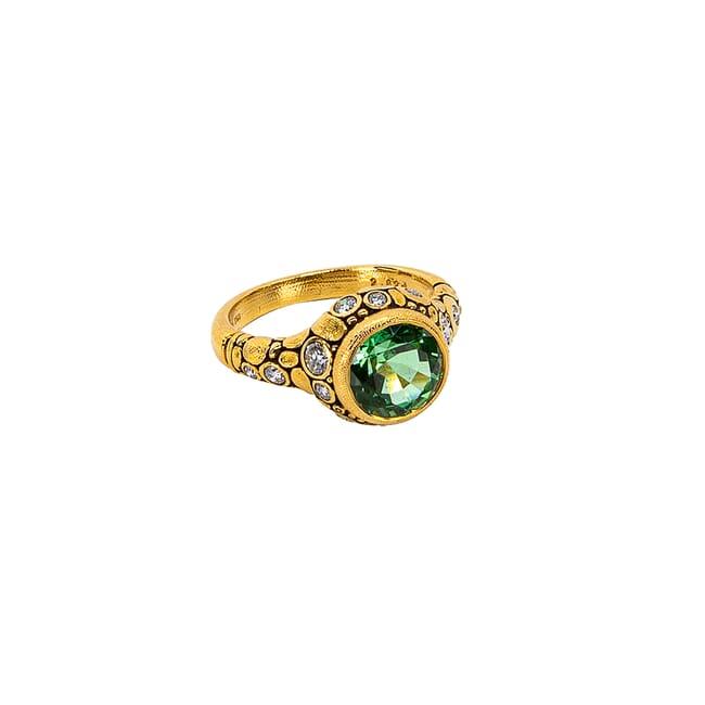 "Alex Sepkus 18K and Diamond ""Circle"" Ring Afghani Green Tourmaline 2.62ct and 14 White Diamonds 0.46ct R-84D"