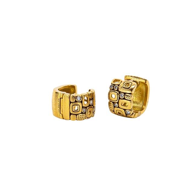 "Alex Sepkus 18k and Diamond ""Little Windows"" Huggie Earrings, 10 Diamonds (0.11ct) E-83"