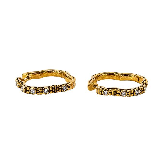 "Alex Sepkus 18k and Diamond ""Quatrefoil"" Huggie Earrings, 10 Diamonds (0.30ct) E-233D"
