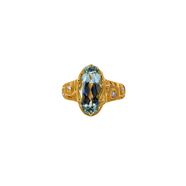 "Alex Sepkus 18k and Diamond ""The Magic Flute"" Ring with 8 Diamonds (app. 0.19ct) and Aquamarine (4.89ct) R-224"