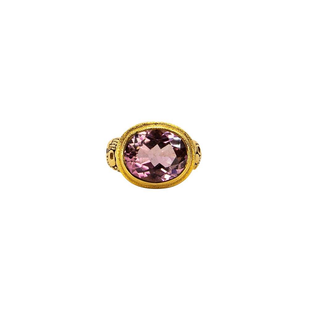 "Alex Sepkus 18K, Color Center Stone and Diamond ""Little Windows"" Ring, Pink Tourmaline 6.69ct Center Stone and 20 Diamonds 0.40ct R-90"
