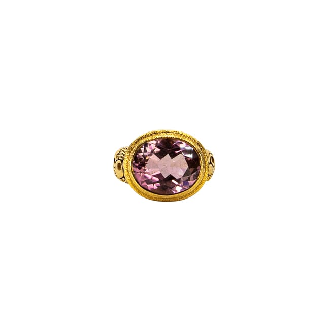 "Alex Sepkus 18K, Color Center Stone and Diamond ""Little Windows"" Ring, Pink Tourmaline 6.69ct Center Stone and 20 Diamonds 0.40ct R-90"