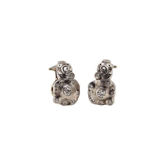 "Alex Sepkus Platinum and Diamond ""Evening Flowers"" 1"" Earrings with 16 White Diamonds (0.35ct) E-200PD"