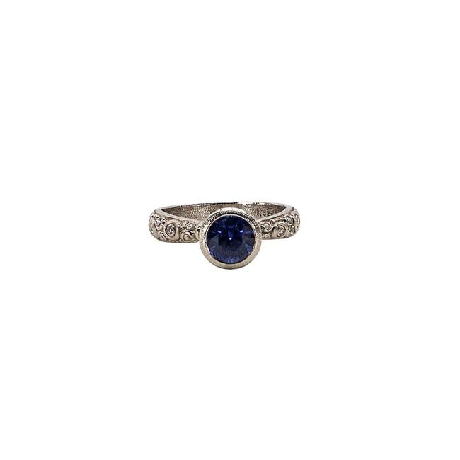 """Alex Sepkus Platinum and Diamond """"Martini"""" Ring with Purple Sapphire (1.52ct) and 17 Diamonds (0.20ct) R-128PP8.5"""