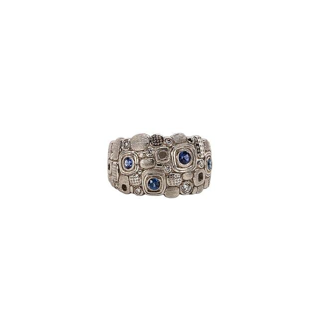 "Alex Sepkus Platinum, Sapphire and Diamond ""Little Windows"" Dome Ring R-101PS"