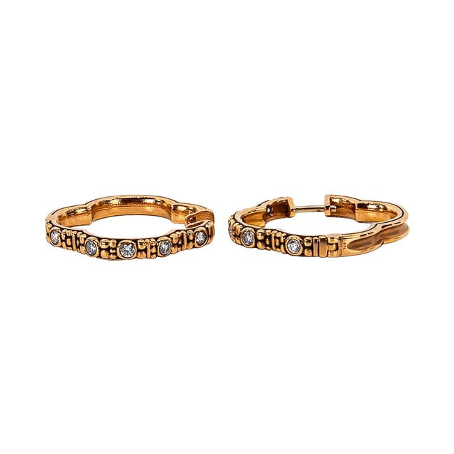 "Alex Sepkus Rose Gold and Diamond ""Quatrefoil"" Huggie Earrings, 10 Diamonds (0.30ct) E-233RD"