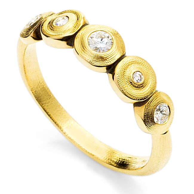 "Alex Sepkus 18K and Diamond ""Five Seed"" Ring"