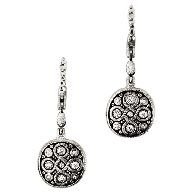 "Alex Sepkus Platinum and Diamond ""Celtic Spring"" Earrings"