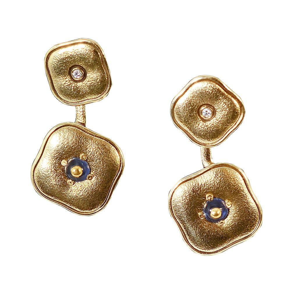 "Alex Sepkus 18k, Inlayed Cabochon Sapphire and Diamond ""Cushion"" Earrings E-189"
