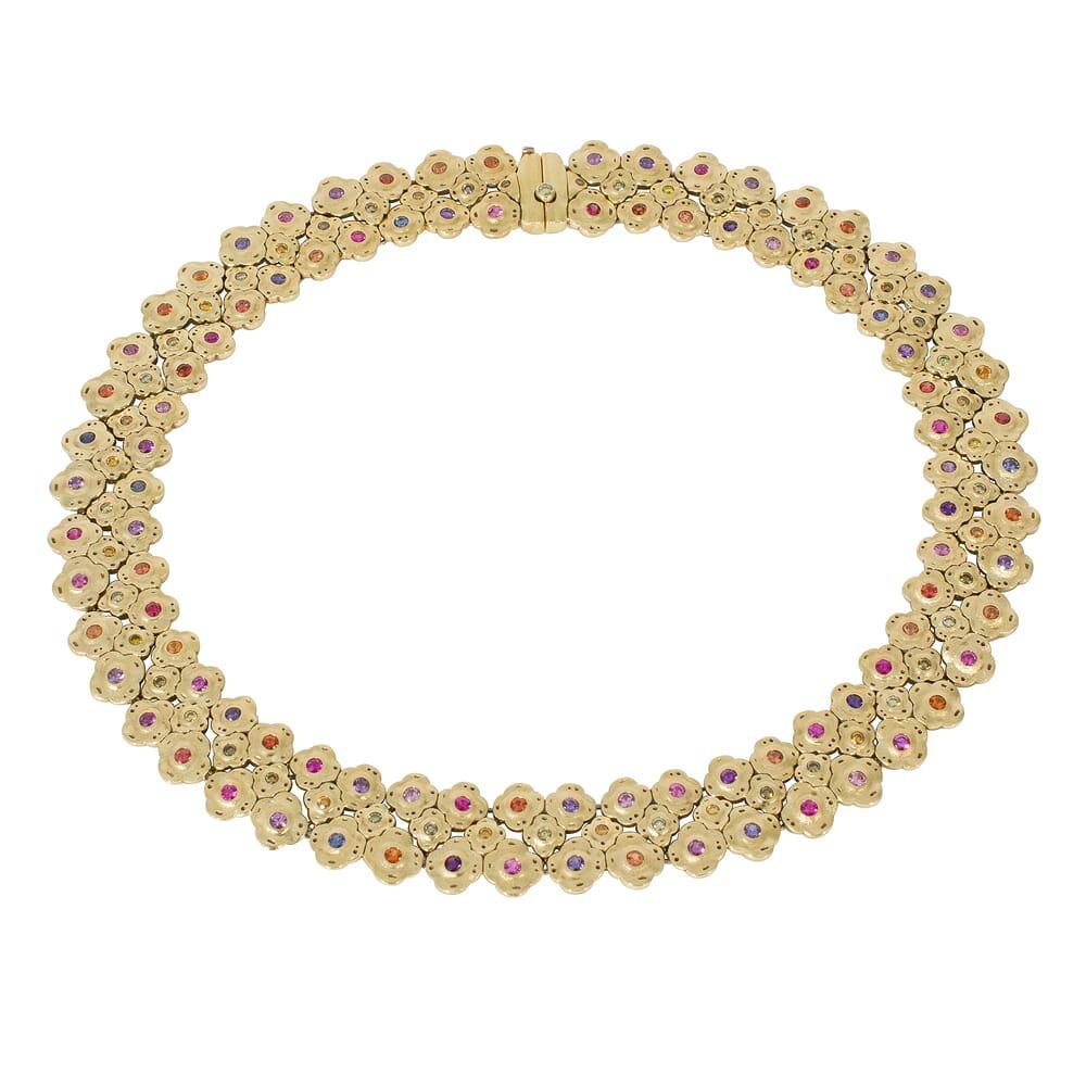"Alex Sepkus 18K Sapphire and Diamond ""Flora"" Necklace"