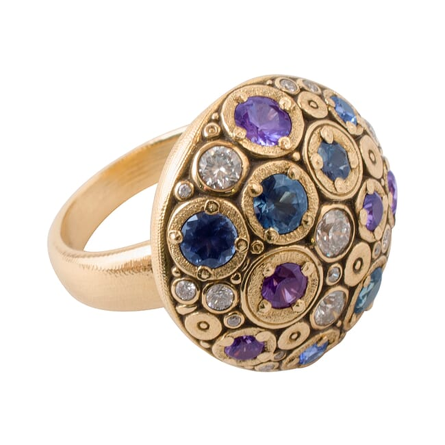 "Alex Sepkus 18K Diamond and Color Stone ""Blooming Hill"" Ring"