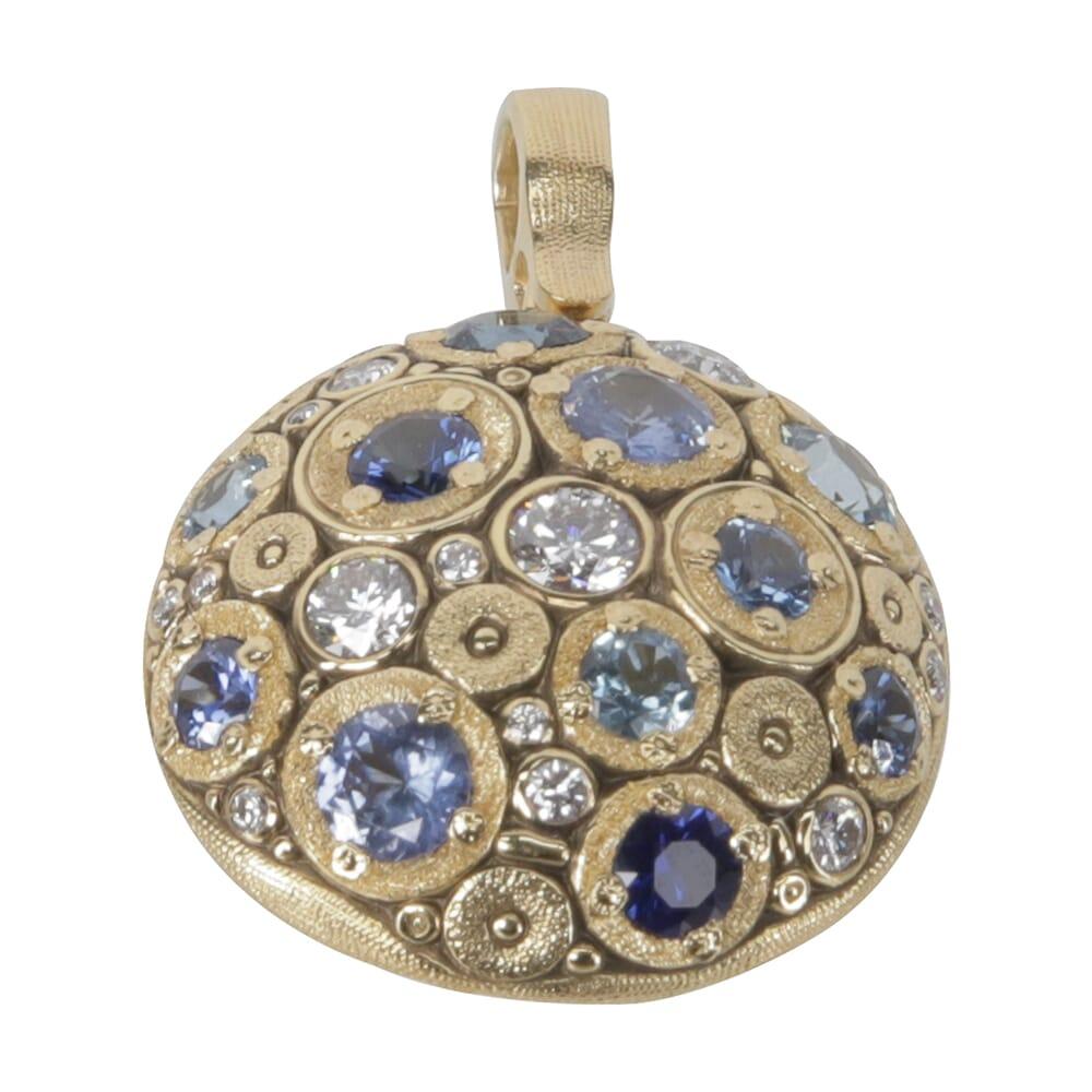 "Alex Sepkus 18K Color Stone & Diamond ""Blooming Hill"" Pendant w/11 Blue Sapphire/Aquamarine Stones & 16 21mm Round Diamonds M-49S"