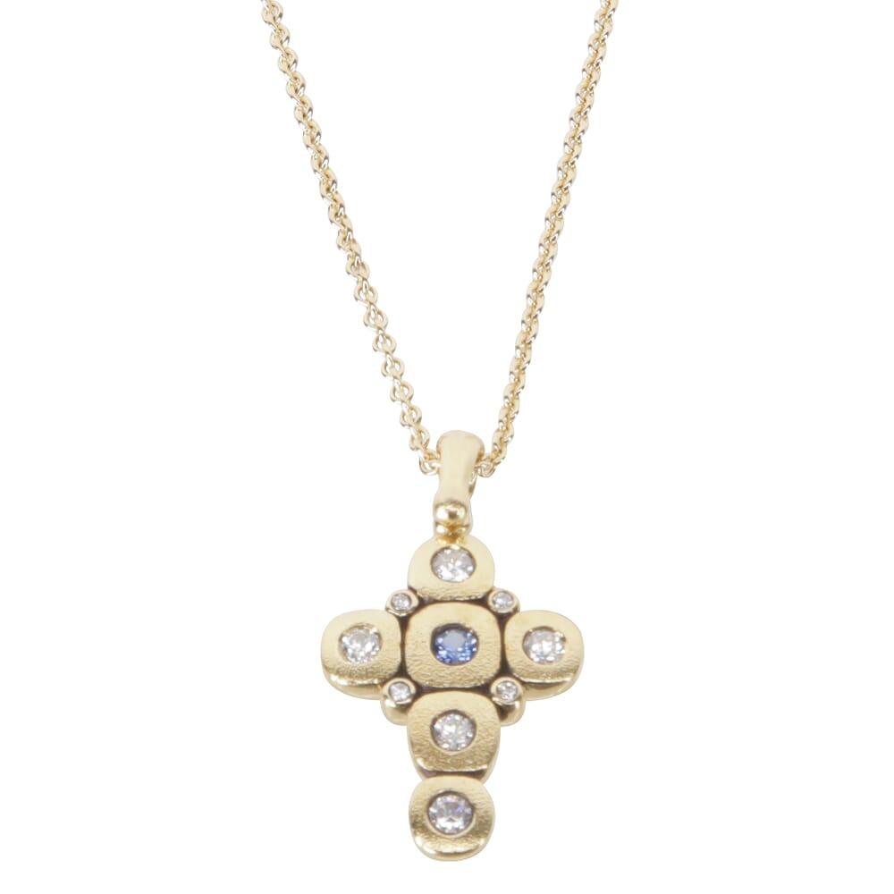 "Alex Sepkus 18K Sapphire & Diamond ""Candy"" Cross Pendant w/1 Blue Sapphire (approx. .07ct), 9 Diamonds (.29ct), & 1.5mm 18"" Cable Chain M-55S15-CH-1.5"