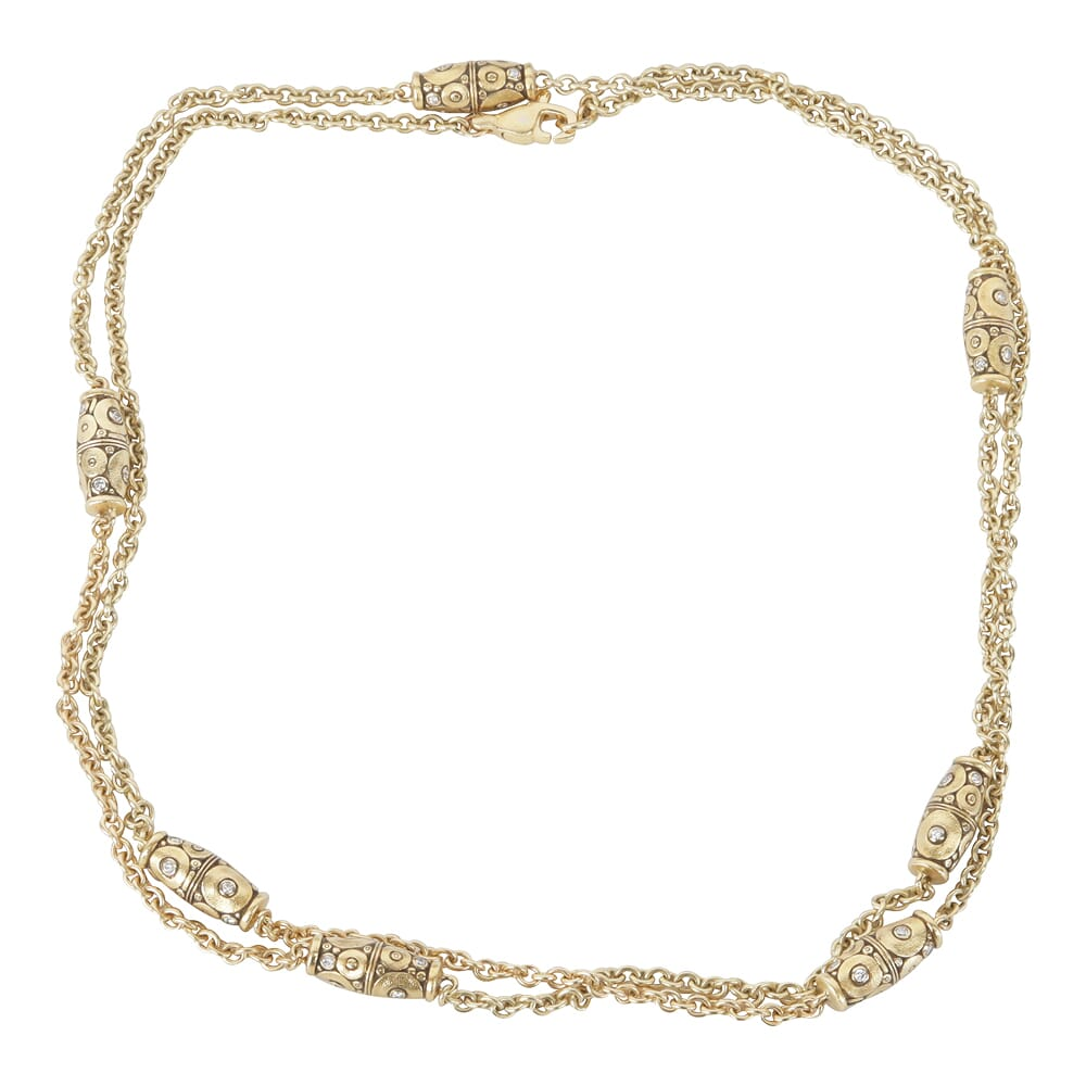 """Alex Sepkus 18K Diamond """"Orchard"""" Necklace with 57 Diamonds (0.93ct) and 38"""" Cable Chain with 7 Barrel Bead Stations N-51D-7-38"""