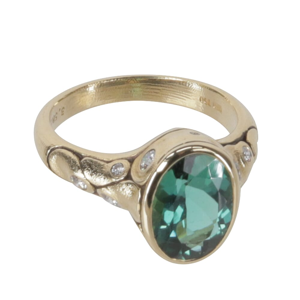 "Alex Sepkus 18K Diamond ""Monica"" Ring with 3.58ct Green Tourmaline 11x8mm Oval Center Stone and 11 Diamonds (0.28ct) R-209D"