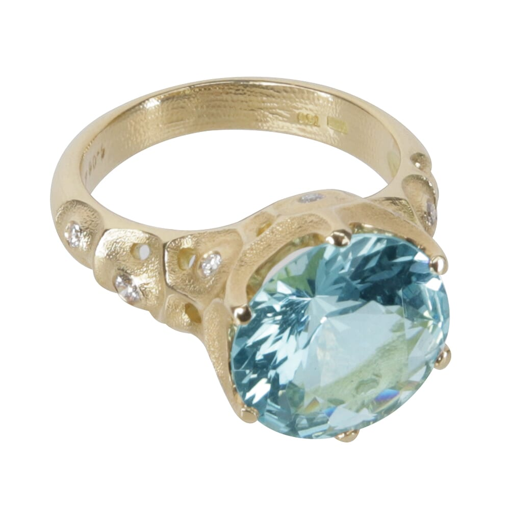 "Alex Sepkus 18k Diamond ""Norma"" Ring with Aqua 4.06ct 11.8-12.1mm Round Center Stone, and 10 Diamonds (approx. 0.12ct) R-225"