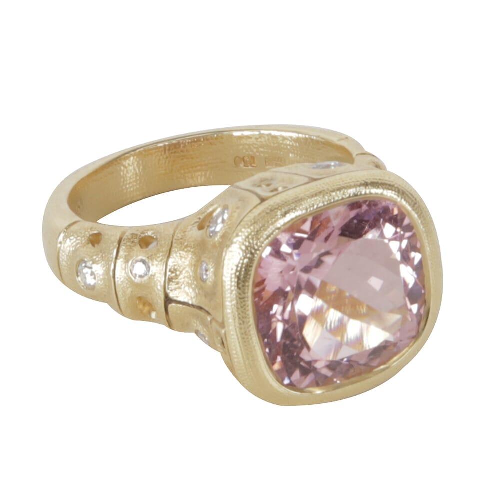 "Alex Sepkus 18K Diamond ""Francoise"" Ring with 5.65ct Pink Tourmaline 12x12mm Cushion and 11 Diamonds (0.28ct) R-226"
