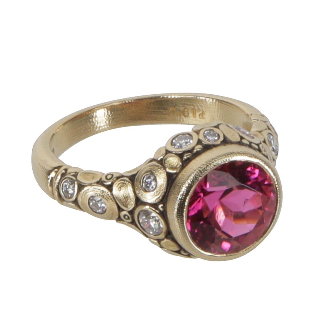 "Alex Sepkus 18K Diamond ""Circle"" Ring Pink Tourmaline (2.61ct) and 14 White Diamonds (0.46ct) R-84D"