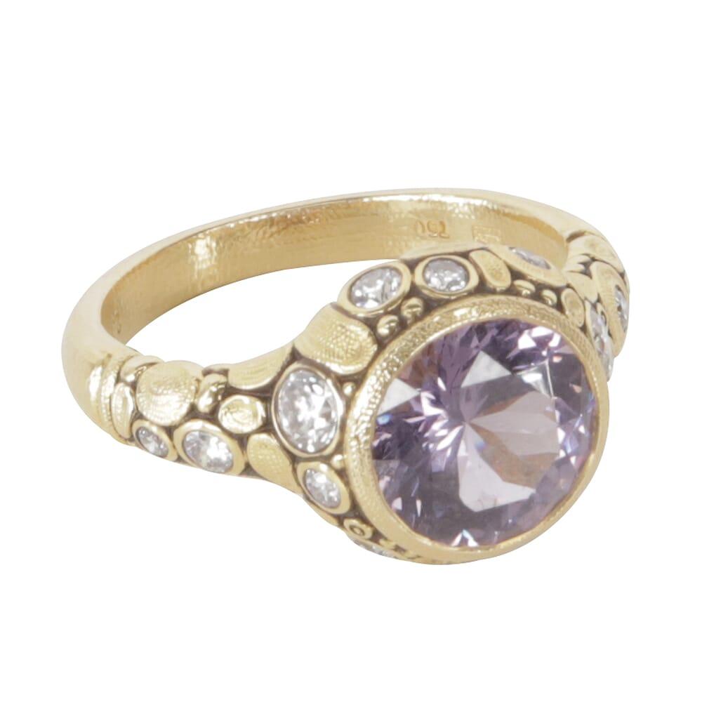 "Alex Sepkus 18K Diamond ""Circle"" Ring with 2.63ct Purple Spinel  and 14 Diamonds (0.46ct) R-84D"