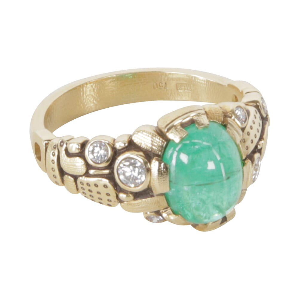 """Alex Sepkus 18K Diamond and Color Center Stone """"Six Prong"""" Ring with 1.96ct Paraiba Tourmaline 10x8mm Oval and 6 Diamonds (Approx. 0.20ct) R-91"""