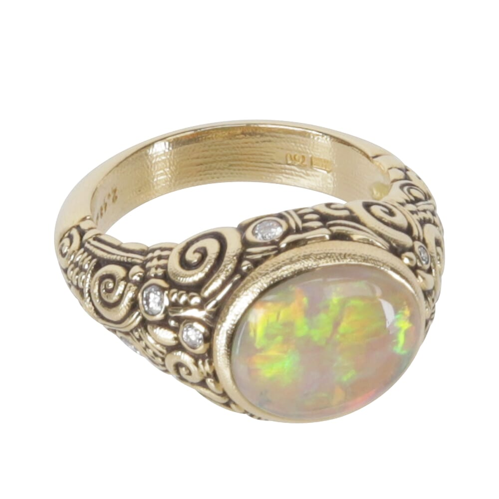 Alex Sepkus 18k Diamond and Black Opal Cabochon Color Center Stone Ring with 11.5x9.5mm Oval 2.48ct Center Stone and 9 Diamonds (0.20ct) R-33
