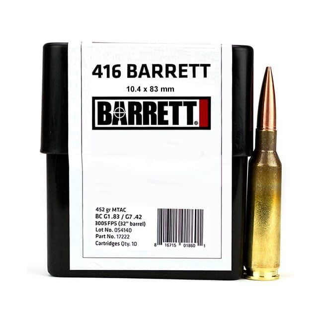 Barrett Ammo .416 Barrett CEB 452 Gr MTAC Box of 10 17222