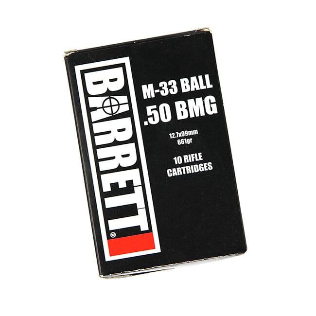 Barrett .50 BMG Headstamp, M33 Ball, 10 Round Box MPN 14670