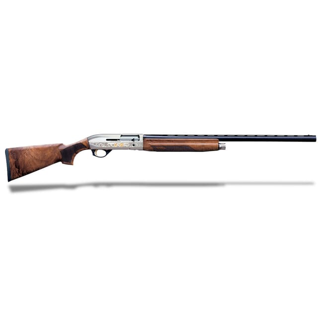 "Bennelli Montefeltro Silver AA-Grade satin walnut, Nickel/blue, Etched game scenes 28"" 10850"