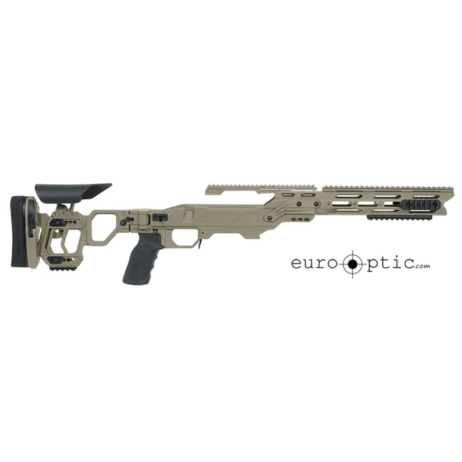 Cadex Lite Strike Chassis (for Remington 700) Long Action, Skeleton Buttstock,  20 MOA, sleeve SSSF 3.715, Top rail screws Tan.  MPN SSTKLT-REM-RH-LA-TAN