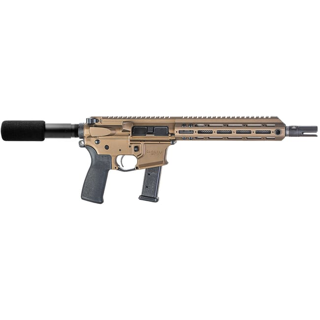"Christensen Arms CA9MM 9mm 10.5"" 1:10"" M-LOK Burnt Bronze AR Pistol w/SB3 Tactical Brace 801-11007-01"
