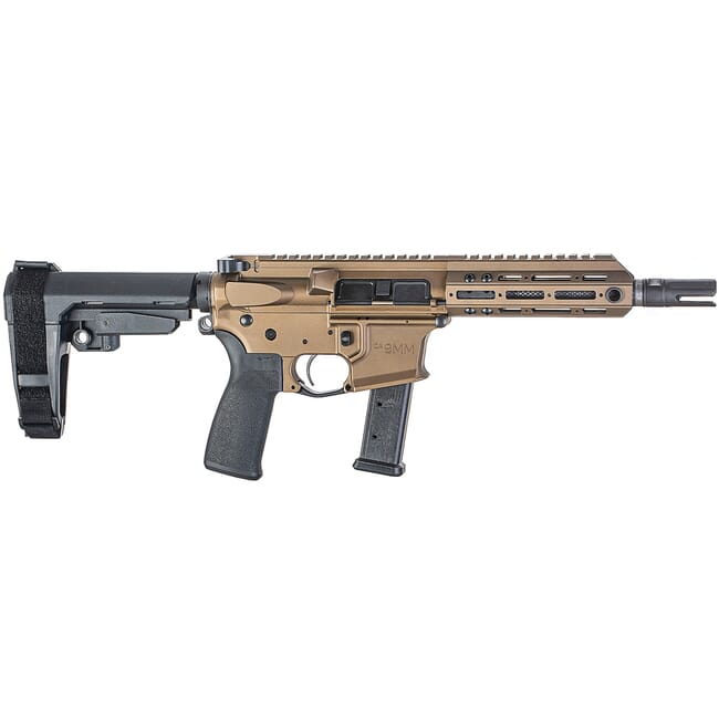 "Christensen Arms CA9MM 9mm 7.5"" 1:10"" M-LOK Burnt Bronze AR Pistol w/SB3 Tactical Brace 801-11006-01"