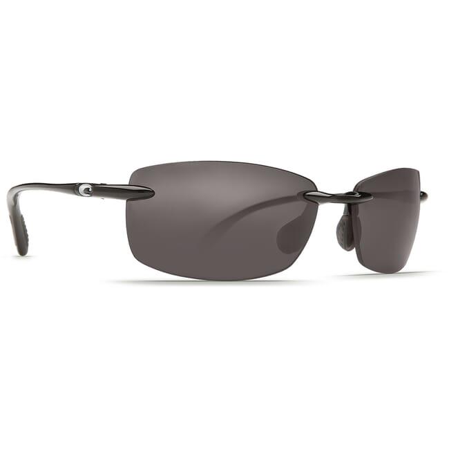 Costa Ballast Shiny Black Frame Sunglasses w/ Gray 580P C-Mate 1.50 Lenses BA-11-OGP-1.50