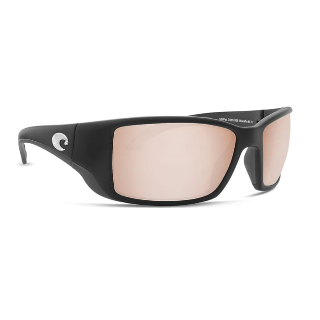Costa Blackfin Matte Black Global Fit Frame Sunglasses w/ Copper Silver Mirror 580G Lenses BL-11GF-OSCGLP