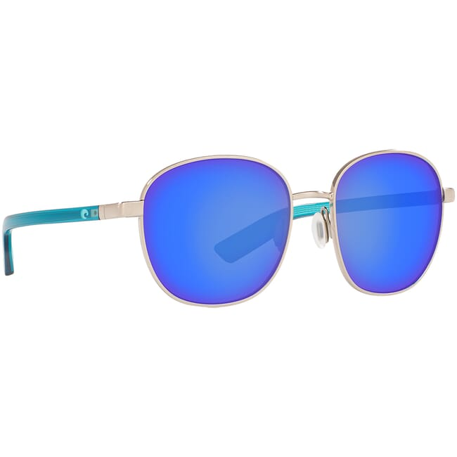 Costa Egret Brushed Silver w/ Shiny Ocean Blue Temples Sunglasses EGR-299