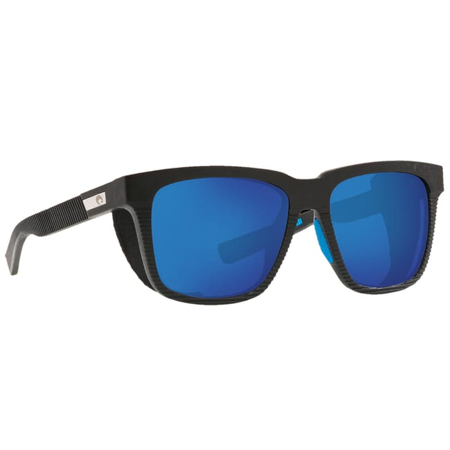 Costa Untangled Pescador Net Gray w/Blue Rubber + Side Shields Sunglasses w/ Blue Mirror 580G Lenses UC1S-00B-OBMGLP