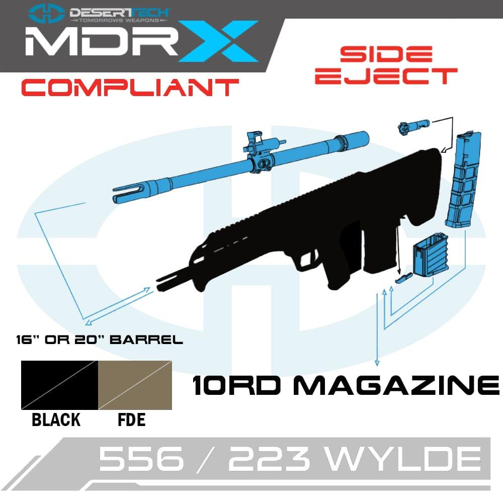 Desert Tech MDRx .223 Wylde Side Ejection California Compliant Rifle Kit