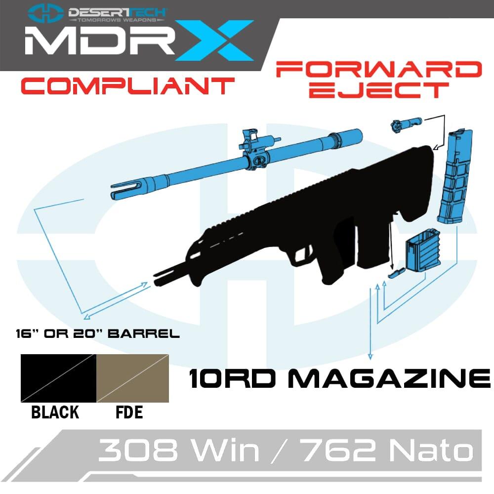 Desert Tech MDRx 7.62 NATO Forward Ejection California Compliant Rifle Kit