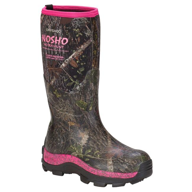 Dryshod Women's NoSho Ultra Hunt Hi Camo/Pnk Outdoor Sport Boots MBMWHPNW