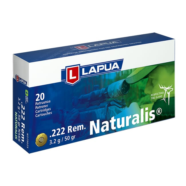 Lapua 222 Remington 50gr Naturalis Solid Box of 20 N315025