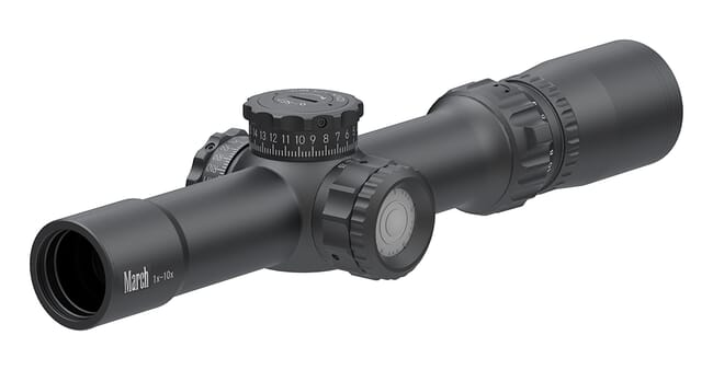 March Compact Tactical 1-10x24 MTR-1 Reticle 1/4MOA Illuminated Riflescope D10V24TI